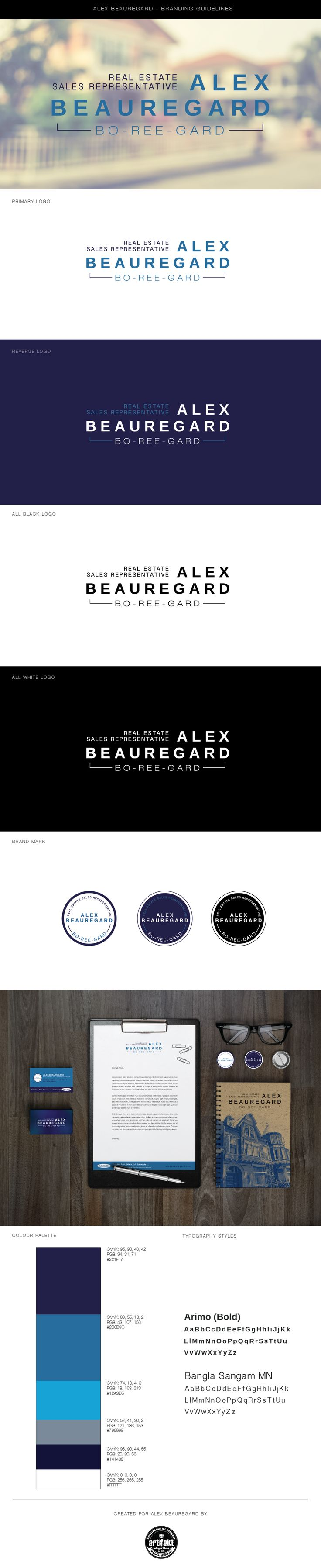 The completed branding guidelines we did for Alex Beauregard.