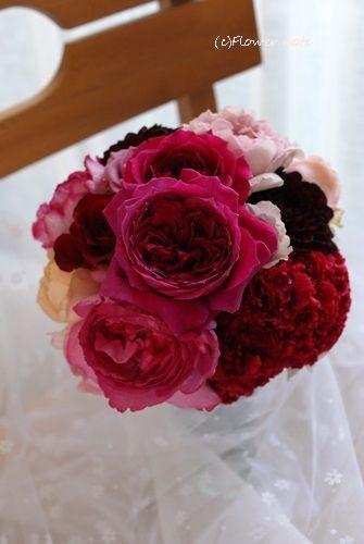 【一会花修行】ビビットな薔薇のブーケ