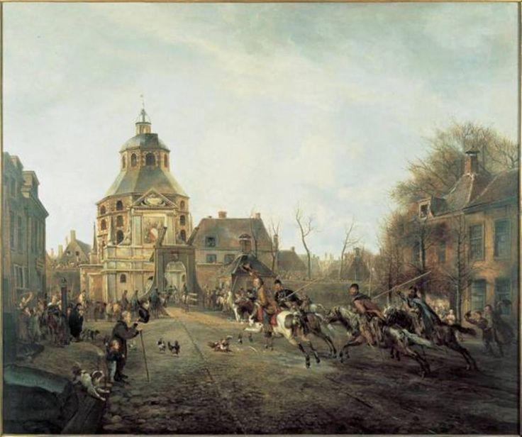 De aankomst van de kozakken in Utrecht in 1813. Het binnentrekken van de stad gebeurt door de Wittevrouwenpoort, door Pieter Gerardus van Os.