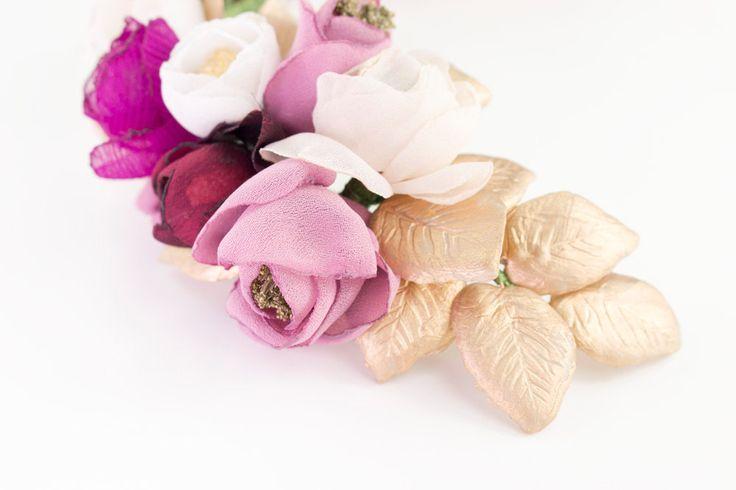 Media corona de flores de tela y hojas de porcelana de OLGAALOR en Etsy