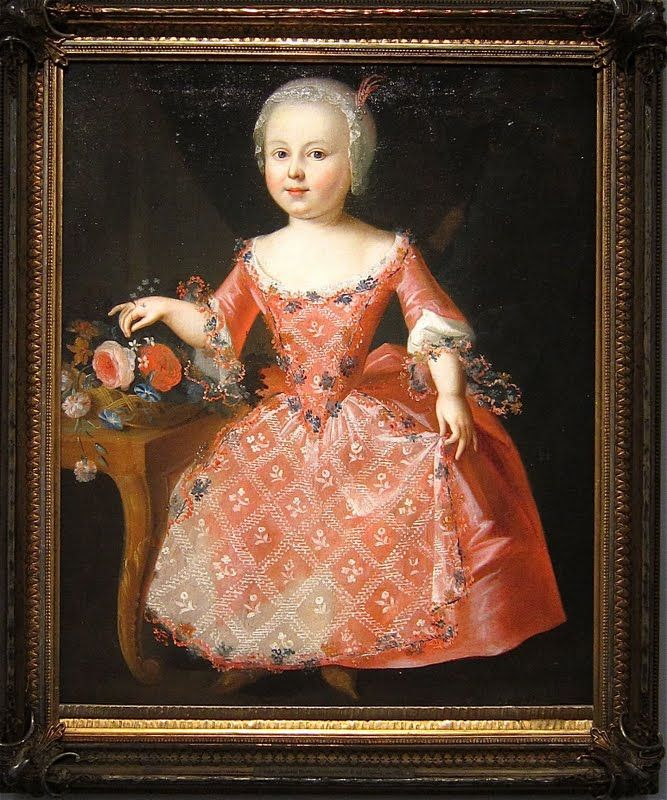 Hapsburg School: Portrait of Sophie Christiane Wilhelmine, Countess of Solms-Laubach (1741-17720, c 1743 attributed to Antoine Pesne (1683-1757). The dress is influenced by the French fashion during the XVIII century. Antoine Pesne was the favorite painter of Fredrick I of Prussia. After the monarch's death, he continued to work for his son in the palaces of Sans Souci, Postdam and Charlottenburg.