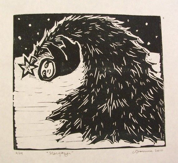 Stargazer Sloth Linocut limited edition black and by craftyhag
