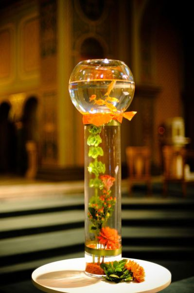 Glass Cylinder w/ flowers or plants in water ~ Topped w/ Glass Bowl w/ water & Gold Fish....
