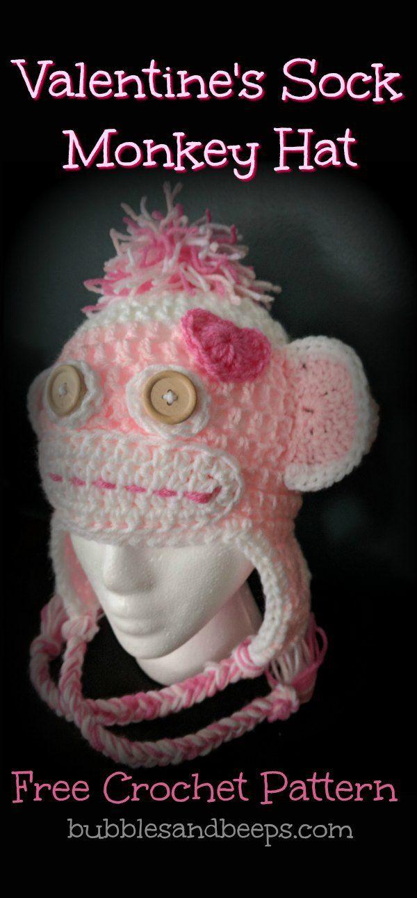 Valentines Day Crochet Sock Monkey Hat Free Crochet Pattern