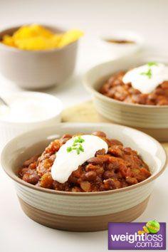 Healthy Entertaining Recipes: Vegetarian Chilli. #HealthyRecipes #DietRecipes #WeightlossRecipes weightloss.com.au