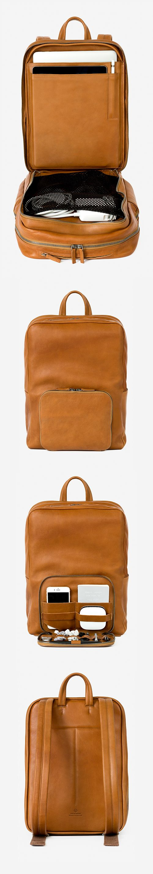 take a look at this leather backpack with wifi, location tracking and lots of organization