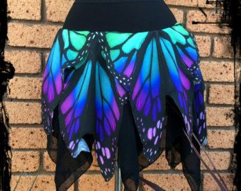 SALE Blue Butterfly Wing Skirt Size Large Ready by annaladymoon