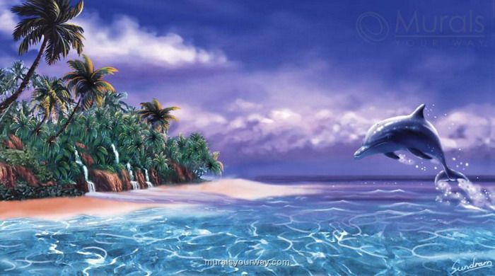 Wallpaper murals hawaiian for tropical wall murals for Dolphins paradise wall mural