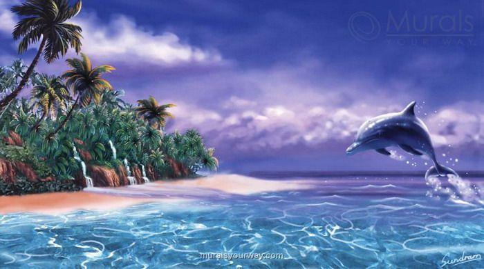 Dolphin Wallpaper For Walls : Wallpaper Murals hawaiian  for tropical wall murals tropical dolphin ...