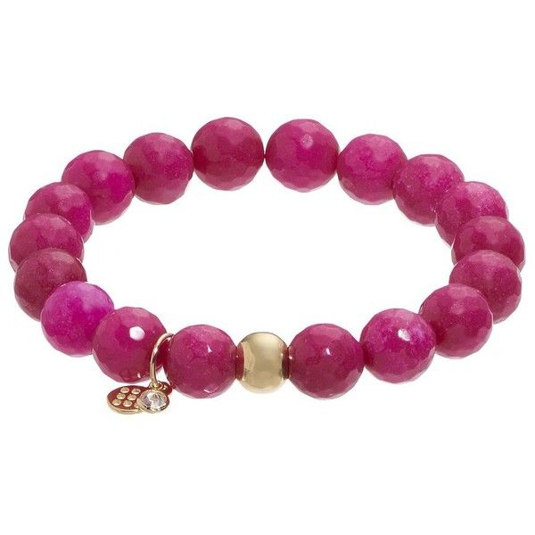 TFS Jewelry 14k Gold Over Silver Fuchsia Quartz Bead Stretch Bracelet (1,110 EGP) ❤ liked on Polyvore featuring jewelry, bracelets, pink, beaded bangles, yellow gold bangle, silver bangles, pink quartz jewelry and gold bangles