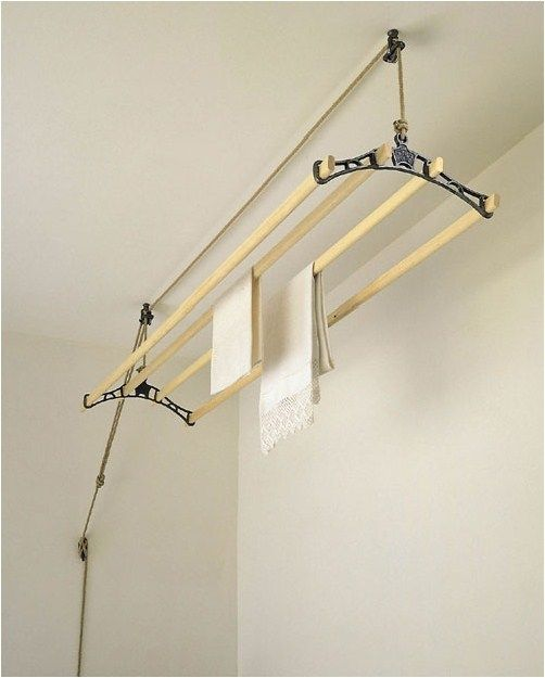 Sheila Maid Ceiling Clothes Dryer, 4 Scandanavian pine drying rails, Cast iron rack ends, Pulley system with cleat hook and 10m strong jute rope, L145 x W38cm