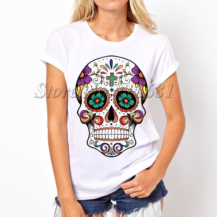 Euro Size T Shirt Cute Design Women Tshirts Fitness Ladies: 17 Best Ideas About Skull T Shirts On Pinterest