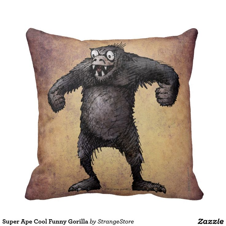 Super Ape Cool Funny Gorilla Throw Pillows from #StrangeStore