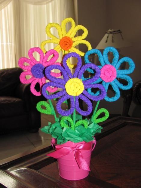 Como hacer flores con limpiapipas para Baby Shower
