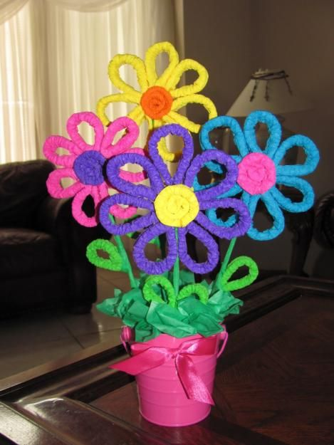 Como hacer flores con limpiapipas para Baby Shower | Manualidades para Baby Shower