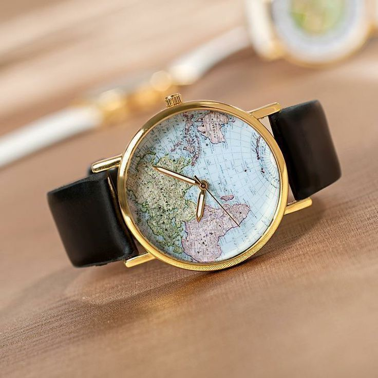 Klocka med Världskarta Ombloggad Trendig och modern, Unisex på