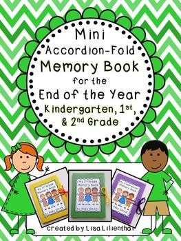 This project is a simple and cute accordion-fold mini memory book for students to record some of their best kindergarten, first, or second grade memories at the end of the school year.
