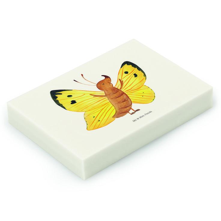 """Radiergummi Schmetterling Zitronenfalter aus Natur Kautschuk   weiß - Das Original von Mr. & Mrs. Panda.  Die einzigartigen Radiergummis von Mr. & Mrs. Panda sind wirklich sehr besonders - sie werden komplett in deutschland gefertigt und von uns in der Manufaktur liebevoll bedruckt. Die Größe beträgt 46 mm x 33 mm und es handelt sich um ein hochwertiges, deutsches Markenprodukt.    Über unser Motiv Schmetterling Zitronenfalter  Unser Zitronenfalter freut sich des Lebens, ein Teil der """"Mr…"""