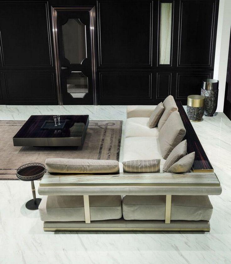 meuble salon design et canap dangle gris perle avec rangement en bois - Meuble Salon Moderne