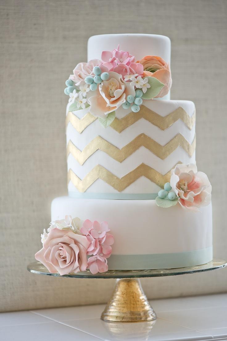 too pretty to eat - gold, pink, chevron cake {via erica obrien cake design}