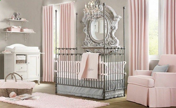 Elegant pink white gray room. Dont need baby stuff, but the colors are cool! .