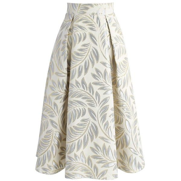 Chicwish Golden Olive Jacquard Midi Skirt (€34) ❤ liked on Polyvore featuring skirts, yellow, mid calf skirts, olive green skirt, white a line skirt, metallic skirts and olive midi skirt