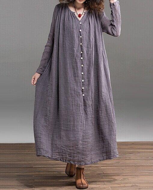 Gray  Loose fitting Maxi dress  Linen dress by prettyforest22