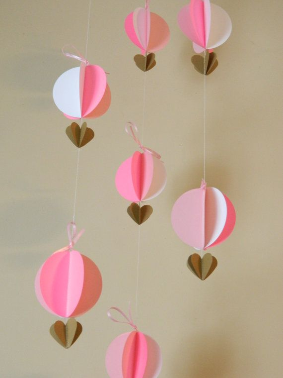 3D Paper Garland/It's a Girl Decor/Baby Shower Decor/ Pink and White Decor/ Bridal Shower Decor/Hot Air Balloons/ Nursery Mobile/ Photo Prop on Etsy, $19.50