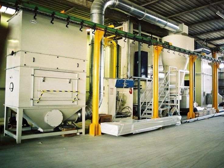 Impianto automatizzato di verniciatura a polveri catena for Disegni base della cabina