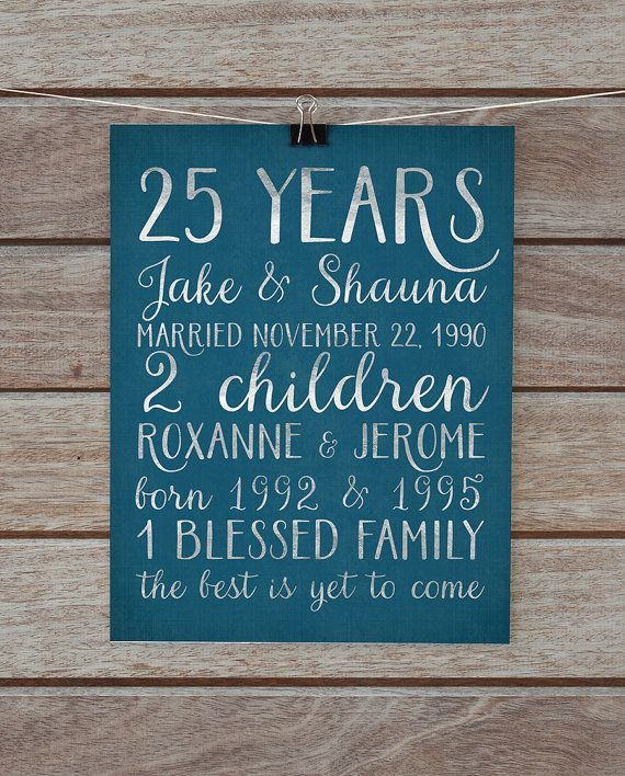25th Anniversary Gift, Silver 25 Year Anniversary Gift for Parents Personalized Life Story Stats Subway Sign Teal Parents Anniversary