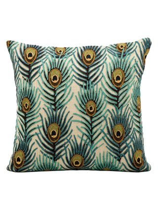 Kathy Ireland Peacock Feathers Pillow by Nourison at Gilt