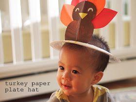 Pink Stripey Socks: Turkey Paper plate hat