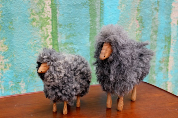 Wool & Wood Sheep / Vintage toy / Danish toys /  by ColibriFinds, $140.00