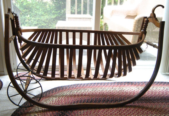 Antique Field Cradle For Babies Civil War Era Portable