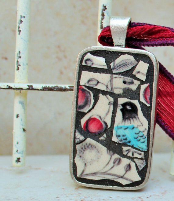 In the Cherry Tree OOAK Mosaic Art Pendant by JumbleMosaics