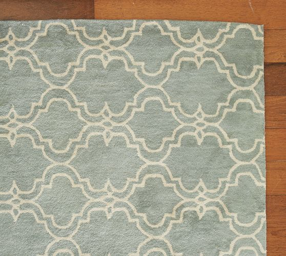 Moroccan Scroll Tile Light Blue Handmade Persian Style: Pottery Barn Scroll Tile Rug