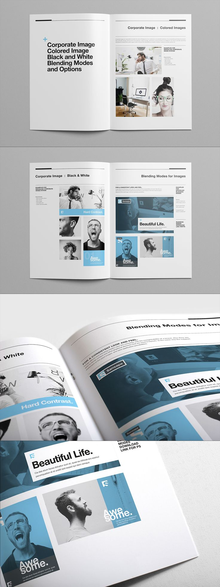 Brand Manual And Identity Template U2013 Corporate Design Brochure U2013 With 40  Pages And Real Text  Manual Design Templates