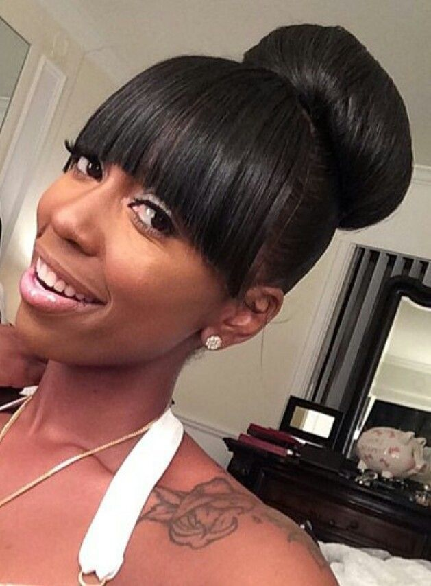 Bun And Bangs Hairstyle With Weave : bangs, hairstyle, weave, Awesome, Bangs, Hairstyle, Weave, Natural, Styles,, Queen, Hair,, Ponytail, Hairstyles