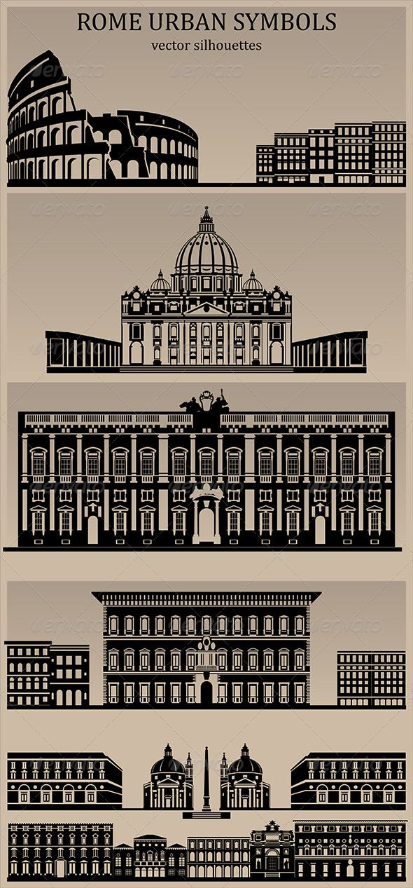 Rome Urban Symbols #GraphicRiver Silhouettes Vector Pack Rome Urban Symbols - the Coliseum - St. Peter's Basilica - Palazzo Farnese - Various Palazzi - Piazza di Popolo and generic buildings Filetypes: AI (illustrator cs6) EPS (illustrator 10) PSD (photoshop, 4000×1800px) PNG (11 individual files with transparency) Created: 6December12 GraphicsFilesIncluded: PhotoshopPSD #TransparentPNG #VectorEPS #AIIllustrator Layered: No MinimumAdobeCSVersion: CS Tags: StPeter #basilica #buildings…