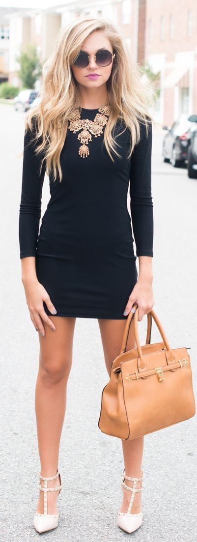 Black dress, nude shoes, necklace and a bag - LadyStyle