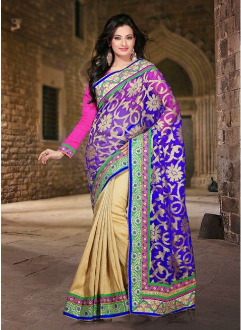 Exotic Beige & Blue Embroidered #Saree With Resham Work #clothing #fashion #womenwear #womenapparel #ethnicwear