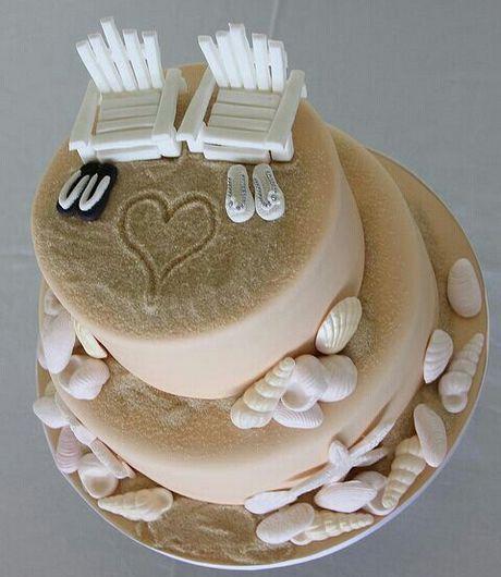Wedding beach themed cake