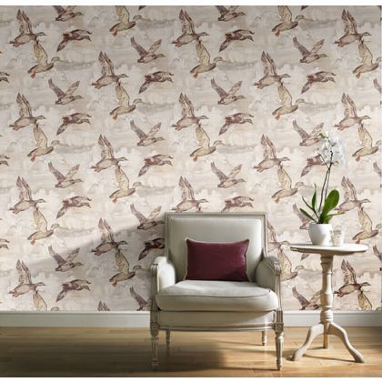 Gran Deco Flying Ducks Wallpaper - Neutral. Create a wow factor with this feature wall.