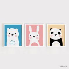 Afdrukbare kwekerij Art Set van 3 Poster dragen Bunny-Panda - babyruimte Wall art kind kamer decor digitale bestand direct downloaden