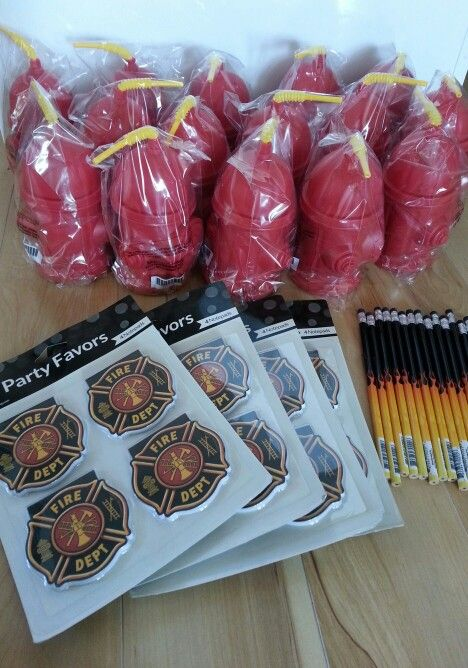 Fireman Party Favors (Fire Hydrant Drink Bottles, Fireman Notepads & Flame Pencils). See Shoalhaven Kids Parties for their full range of Fireman items.