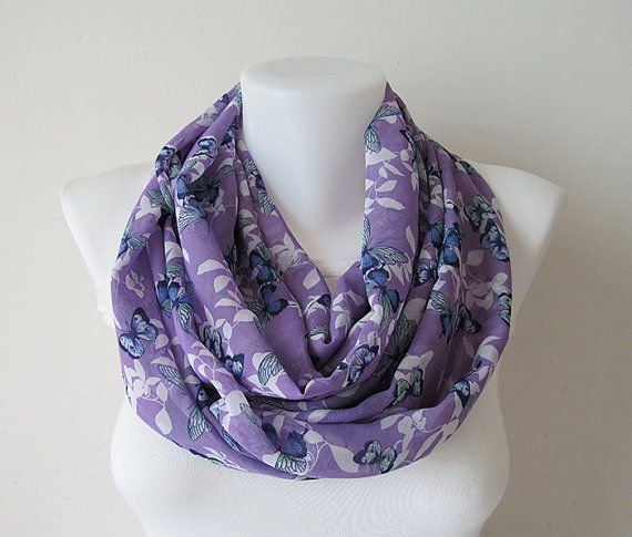 Butterfly Infinity Scarf Lilac Butterfly by NaryasSewingCorner