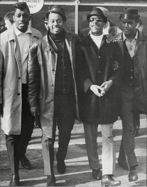 """only-motown: """" Melvin Franklin, Otis Williams, and Paul Williams of The Temptations with Stevie Wonder. """""""