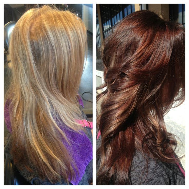 Before & after hair blonde to auburn color fall www.jillain.com