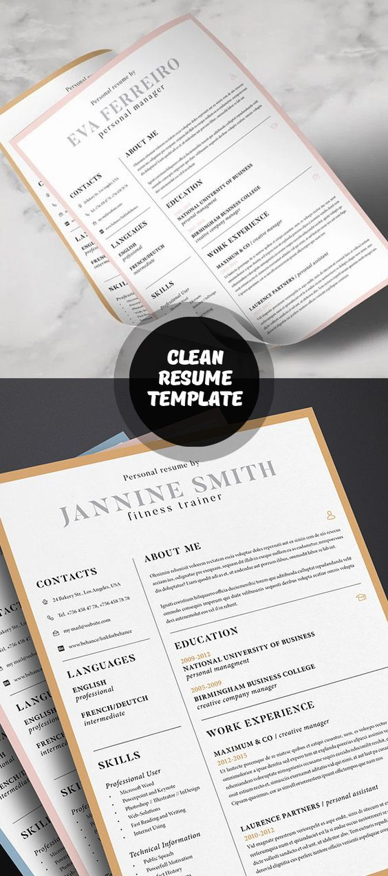 Clean Resume Template L 27 best Etsy