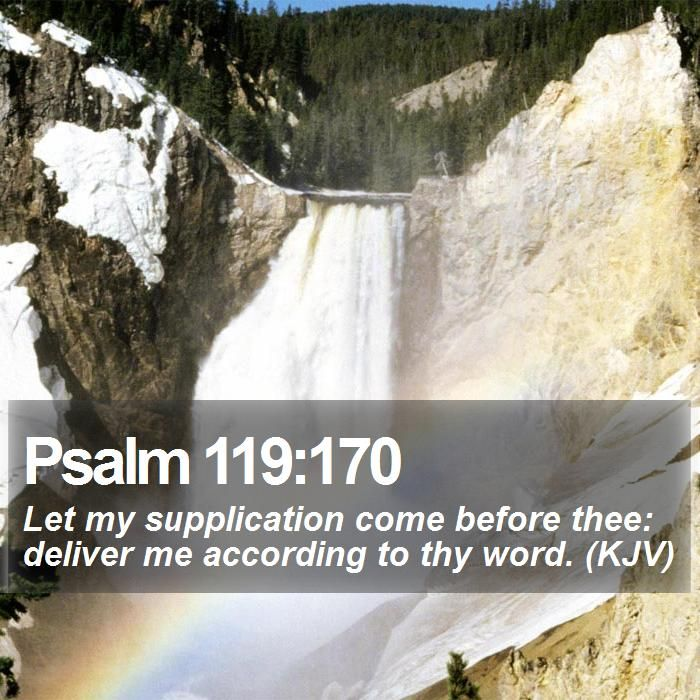 Psalm 119:170 Let my supplication come before thee: deliver me according to thy word. (KJV)  #Devotions #Think #Redemption #Worship #JesusCalling #EndofDays http://www.bible-sms.com/